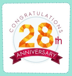 Colorful polygonal anniversary logo 3 028 vector