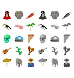 Country mexico cartoonmono icons in set vector