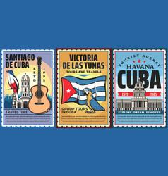 Cuba and havana vacation travel tour retro banners vector