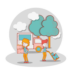 Delivery men with truck and packages in the vector