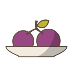 Dish with fruit drawing icon vector
