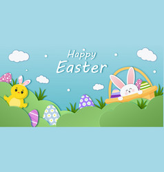 easter banner template with eggs basket vector image