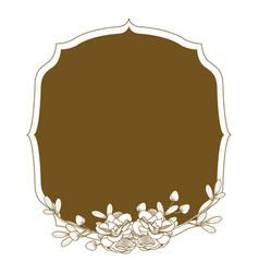 emblem frame with flowers vector image