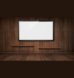 Empty wooden room with tv screen and bookshelves vector