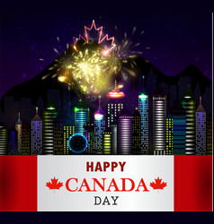 Fireworks and canada flag vector