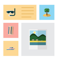 Flat season set of boat coconut scuba diving and vector