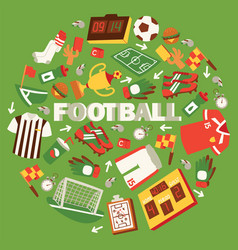 football equipment with field ball trophy vector image