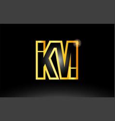 Gold black alphabet letter km k m logo vector