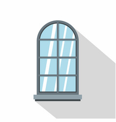 Gray arched window icon flat style vector