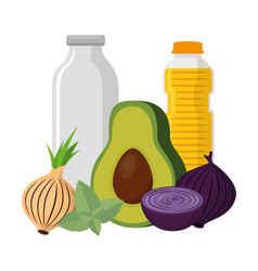 Group nutritive food icons vector