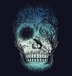 Hand drawn abstract skull made from trees and foli vector