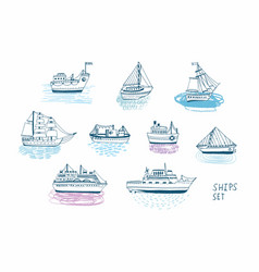 hand drawn doodle ships set colorful vector image