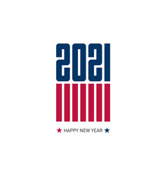 Happy new year 2021 flyer with usa flag colors vector
