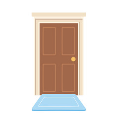 home door with carpet isolated icon design white vector image