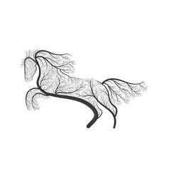 horse jumping stylized bush vector image