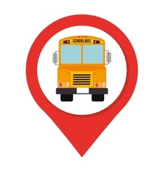 Icon bus pin school isolated vector