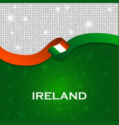 Ireland flag ribbon shiny particle style vector