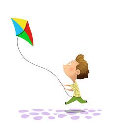 Kid playing kite vector