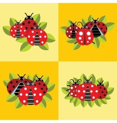 Ladybugs on green leaves yellow background vector image
