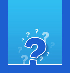 Large question mark sign on blue background vector