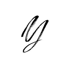 Letter y handwritten by dry brush rough strokes vector