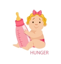 Little Baby Girl In Nappy Holding A Bottle Being vector image