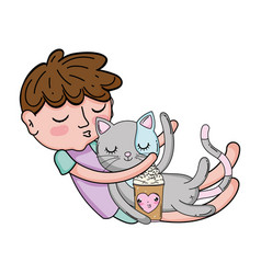 Little boy with cat kawaii character vector