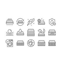 Mattress line icons set memory foam pillow vector