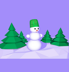 merry christmas snowman in the forest illus vector image