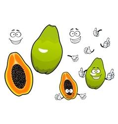 Mexican tropical papaya fruit cartoon characters vector