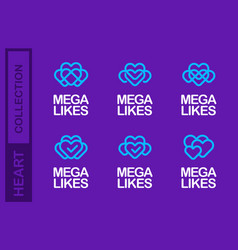 modern professional logo set love in purple and vector image