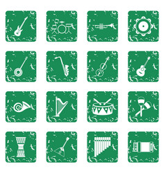Musical instruments icons set grunge vector