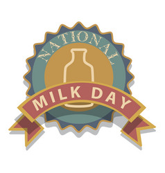 national milk day sign and badge vector image
