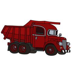 Old red dumper truck vector