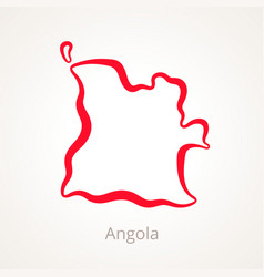 Outline map of angola marked with red line vector