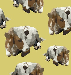 Pattern with a lying cow vector
