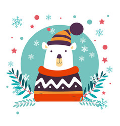 Polar bear christmas animal wearing knitted vector