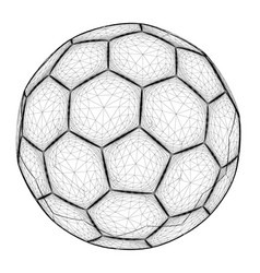 polygonal ball wireframe contour soccer vector image