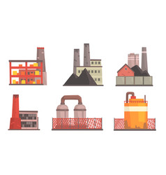 power plants collection industrial factories vector image