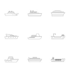 powerboat icons set outline style vector image