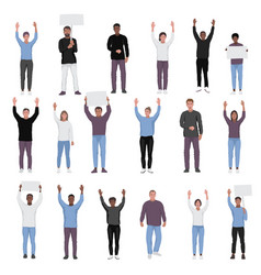 protesting people with hands up set vector image
