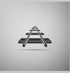 Railroad icon on grey background vector