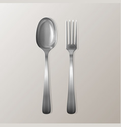 Realistic fork and spoon silver cutlery vector