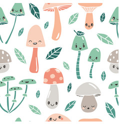 seamless pattern with cute cartoon mushrooms vector image