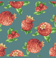 Seamless pattern with pomegranate fruits in vector