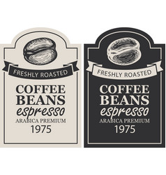 set labels for coffee beans in retro style vector image
