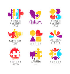 Set multi-colored logo for autism vector