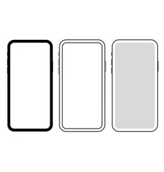set of 3 new slim smartphones icon vector image