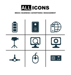 Set of 9 computer hardware icons includes network vector