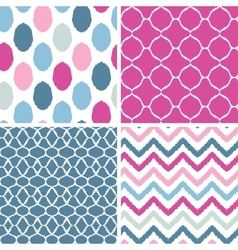 Set of blue and pink ikat geometric seamless vector image